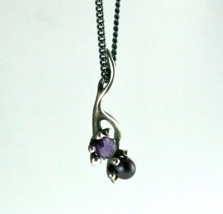 lilla sten sølv halskæde