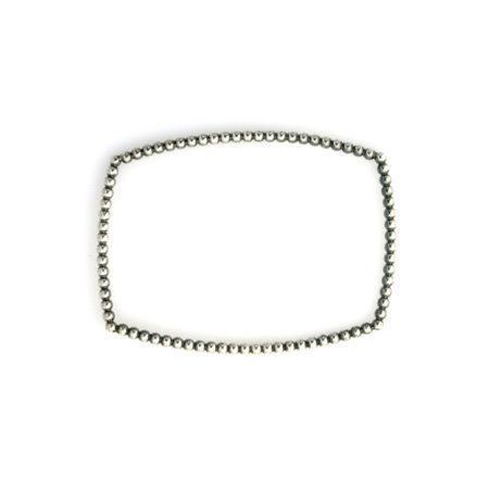 Firkantet armring sølv med knoppet overflade set i profil. Håndlavet af Christel Kaaber Guldsmedie