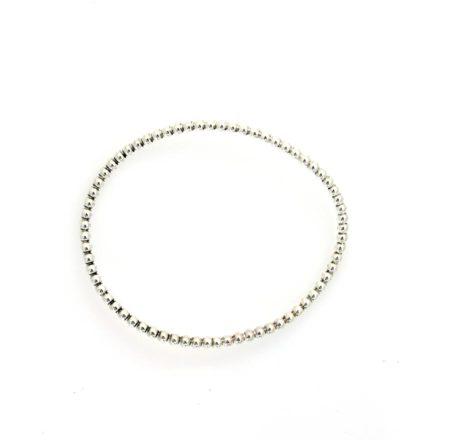Oval armring i knoppet sølv set i profil. Håndlavet af Christel Kaaber Guldsmedie