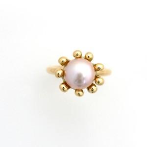 Søanemone ring i 14 kt guld med rosa ferskvandsperle